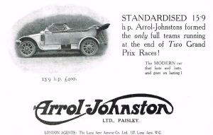 Arrol-Johston Motor Advertisement