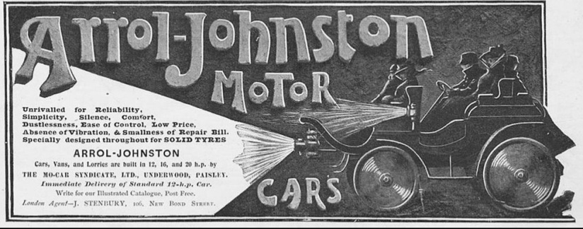 Advert for Arrol-Johnston Motors with picture of a dog cart