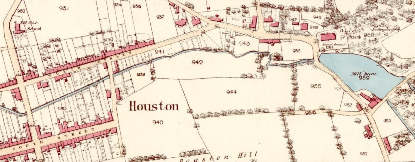 Old map showing the town of Houston and surrounding countryside
