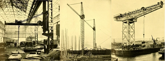 three photographs of cranes