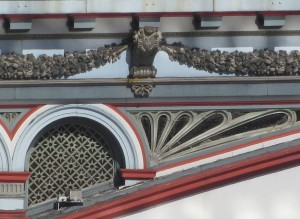 close up of the decorative features on the bridge