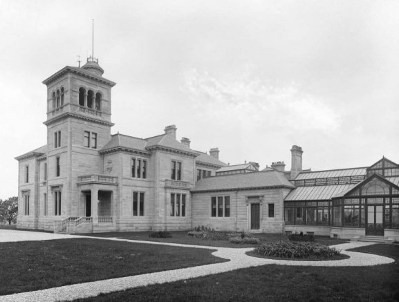 photograph of Seafield House showing grand entrance, tower and conservatory