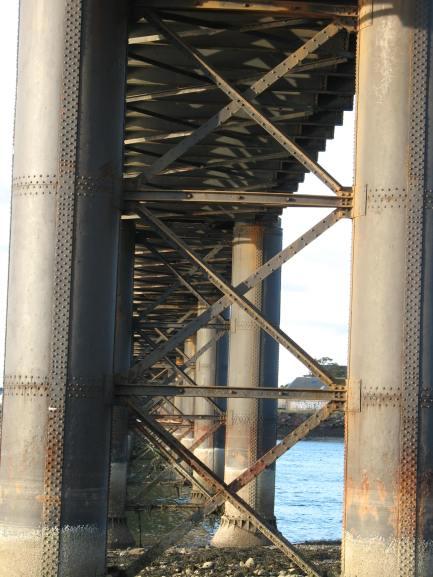 Piers, bracing and girders