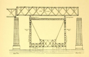 Diagram illustrating the use of pontoons to move girders between piers