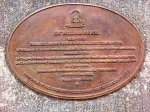 Oval shaped plaque describing the achievments of Sir William Arrol