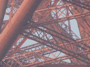 close up of the metal structure of the Forth Bridge