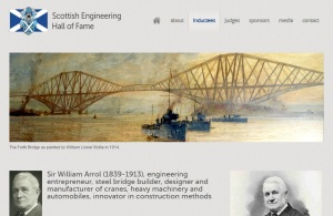 screengrab showing images of Forth Bridge and portraits of Sir William Arrol