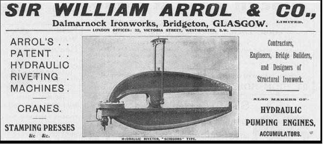 Newspaper advert for Arrol rivetters