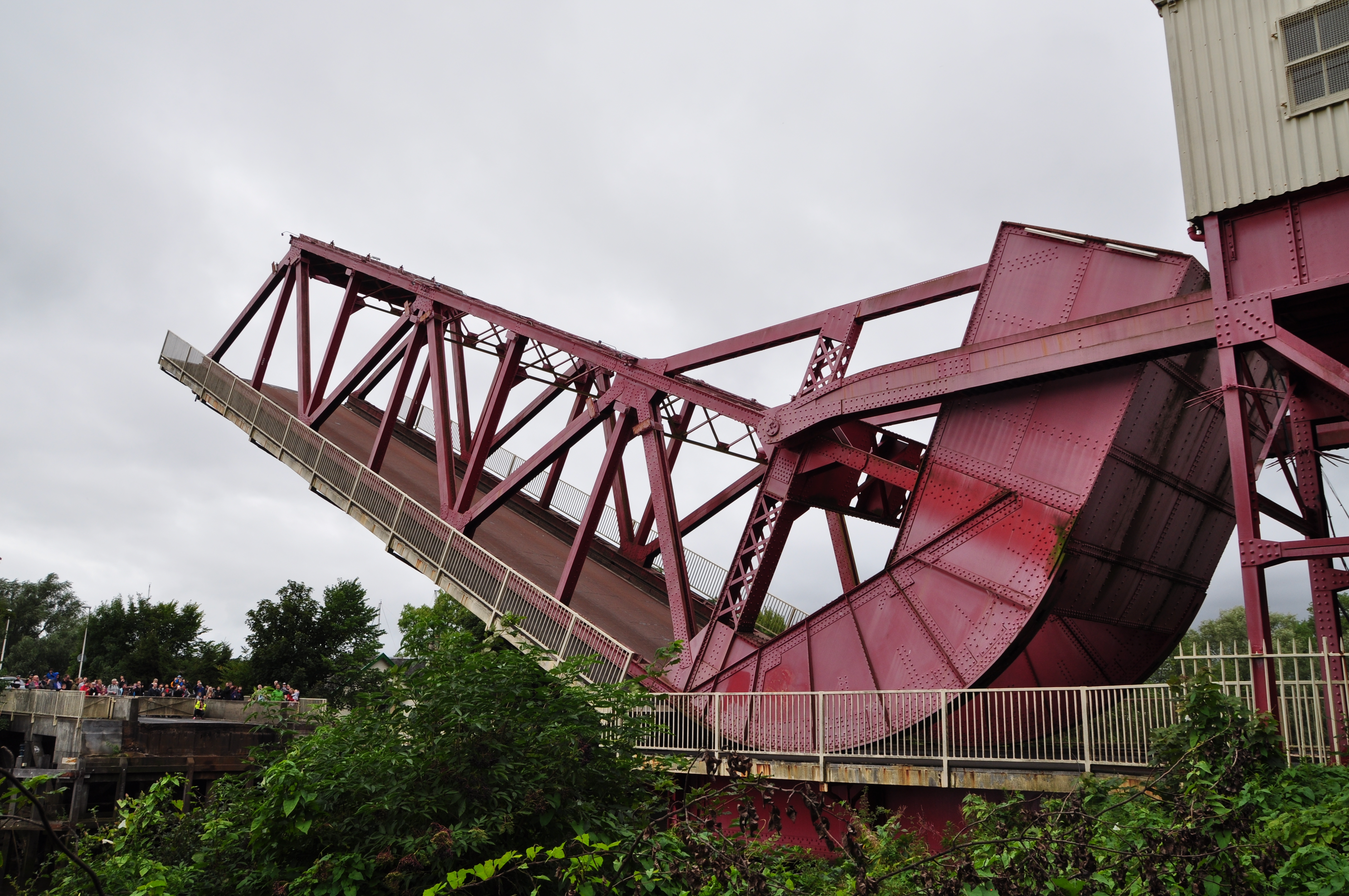 Photograph of the bridge side on in the one third open position