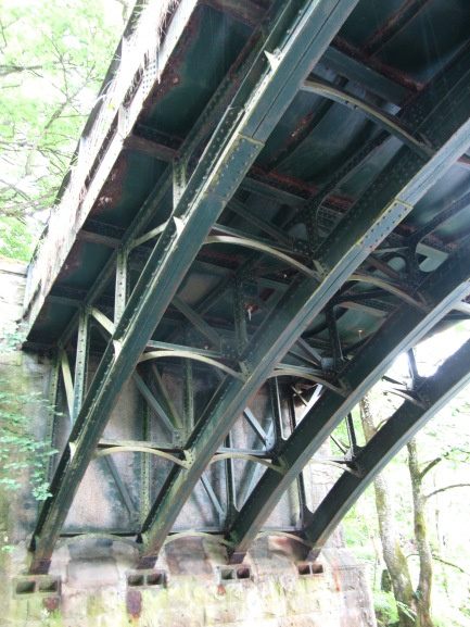 photograph underneath the bridge showing arched girders, cross-bracing and concave buckle plates