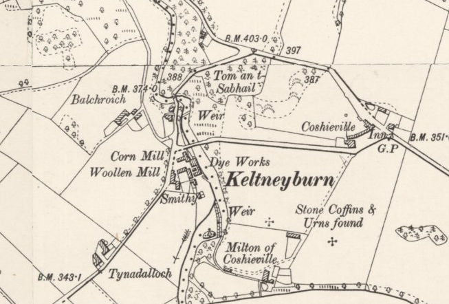 Ordnance survey map of Keltneyburn showing the burn, roads and mill buildings