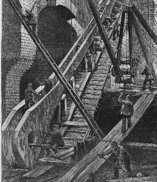 black and white etching showing men working on wooden scaffolding, ladders and platforms