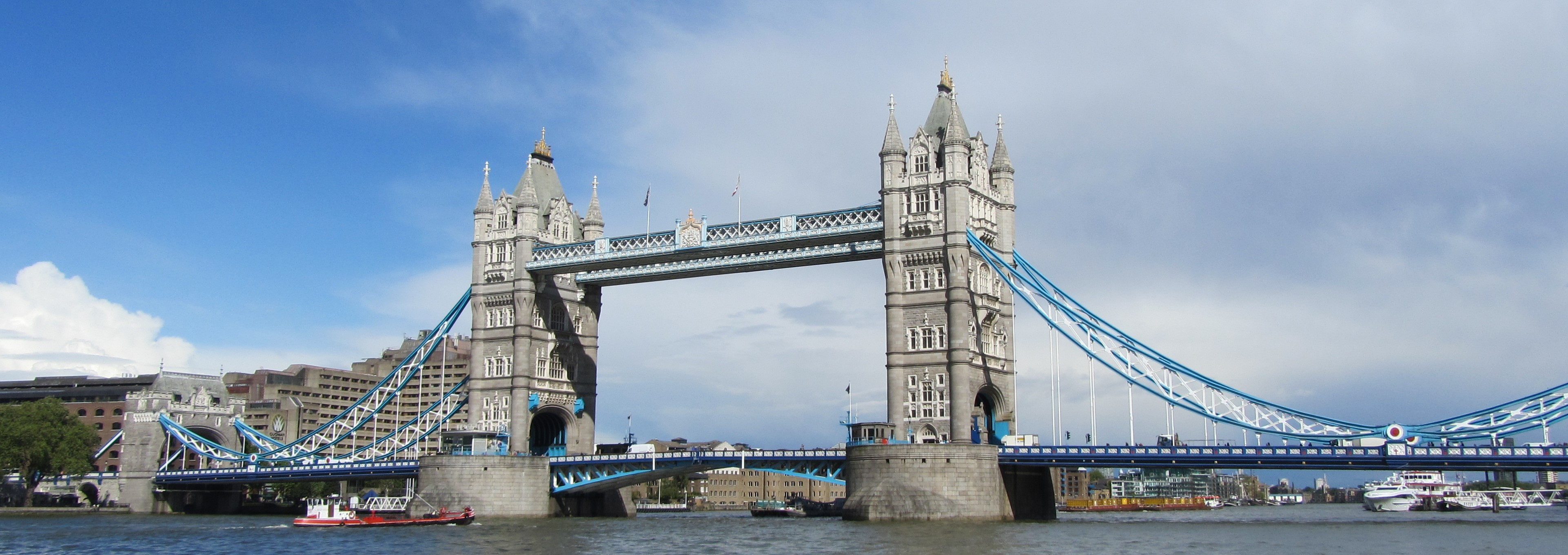 Colour photograph of Tower Bridge stretching across the River Thames